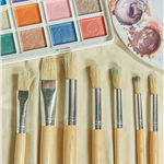 watercolor paint pallet and brushes