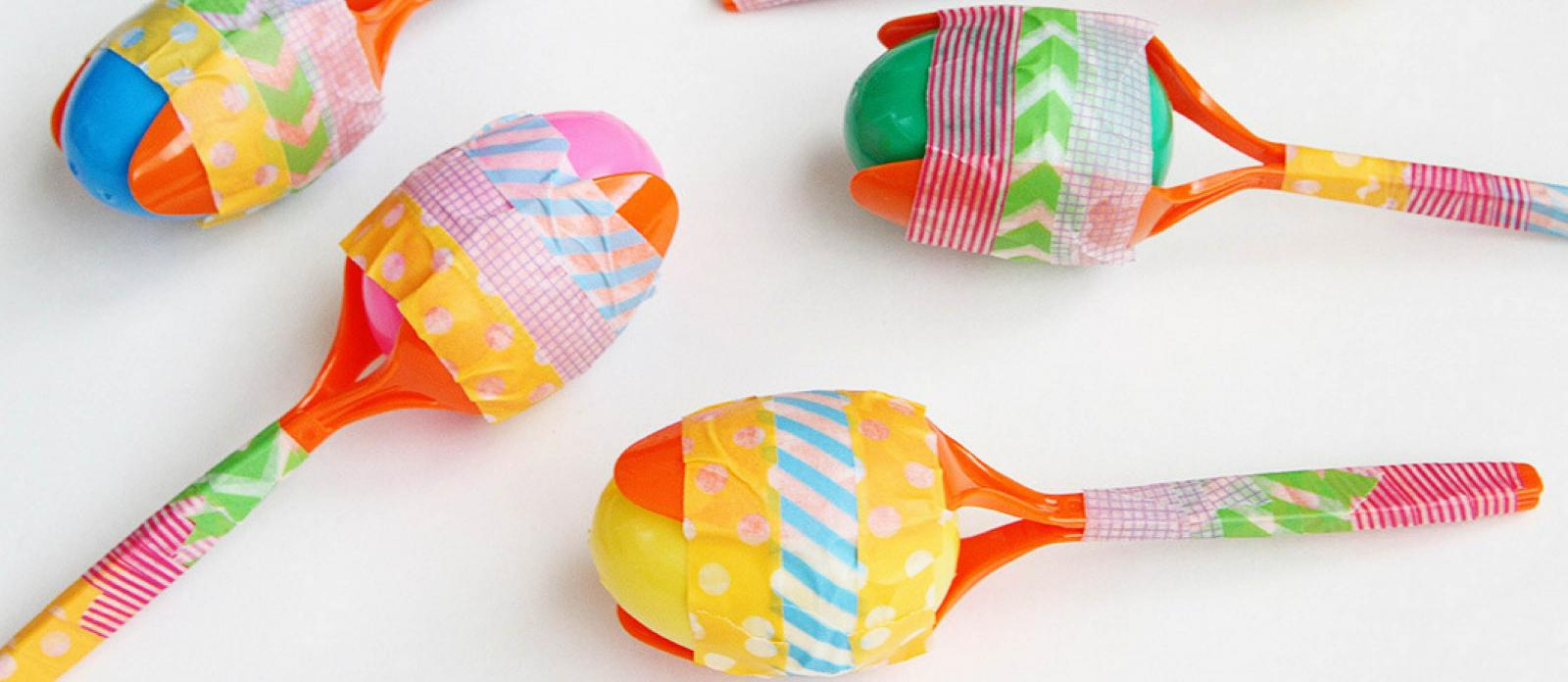 maracas made with plastic spoons and tape