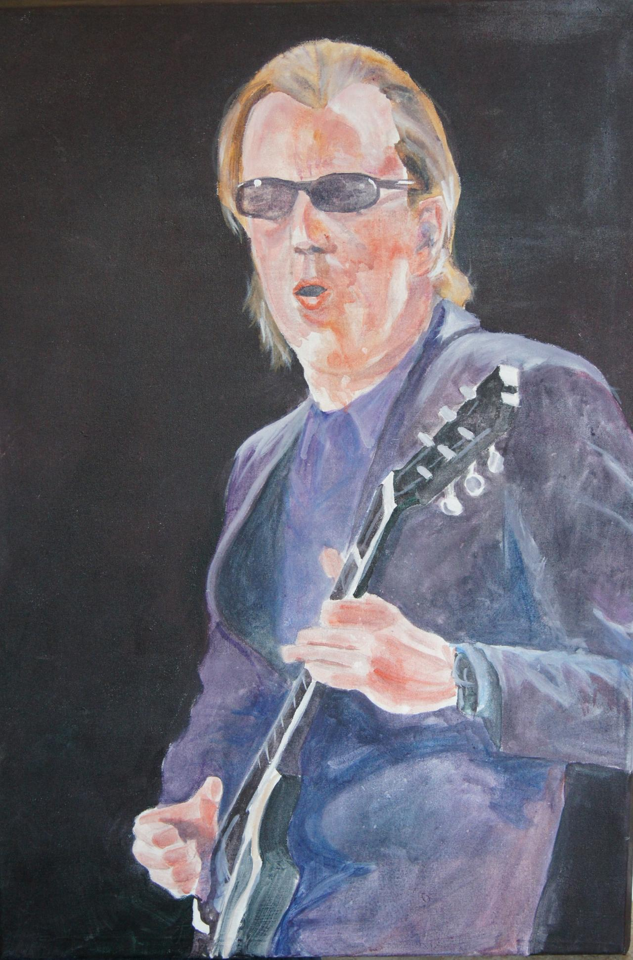 painting of man in black suit playing a guitar
