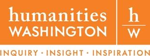 "orange and white logo with the text ""Humanities Washington"""