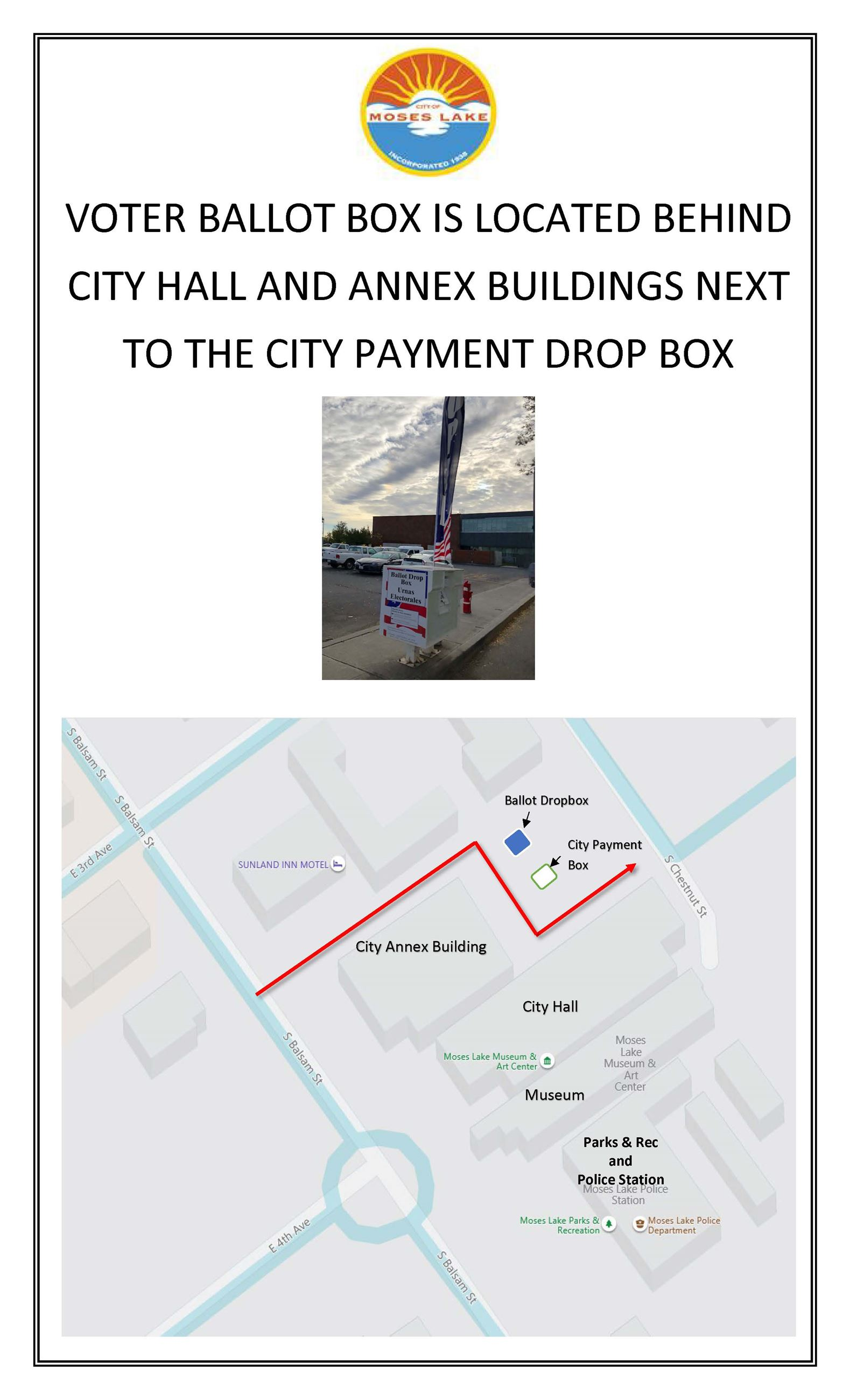 Ballot drop box is located behind City Hall, Annex buildings