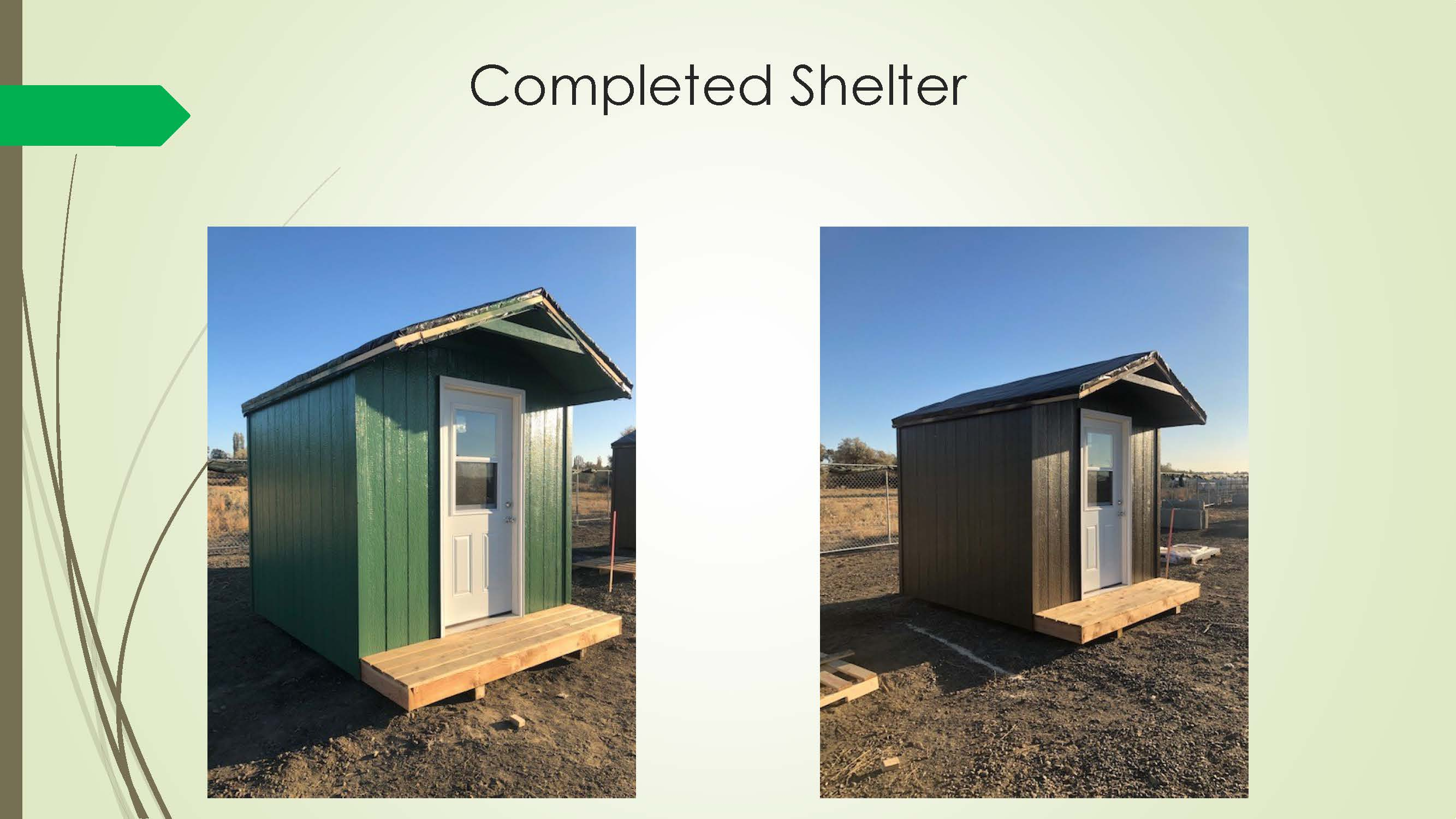 Completed City shelters for homeless