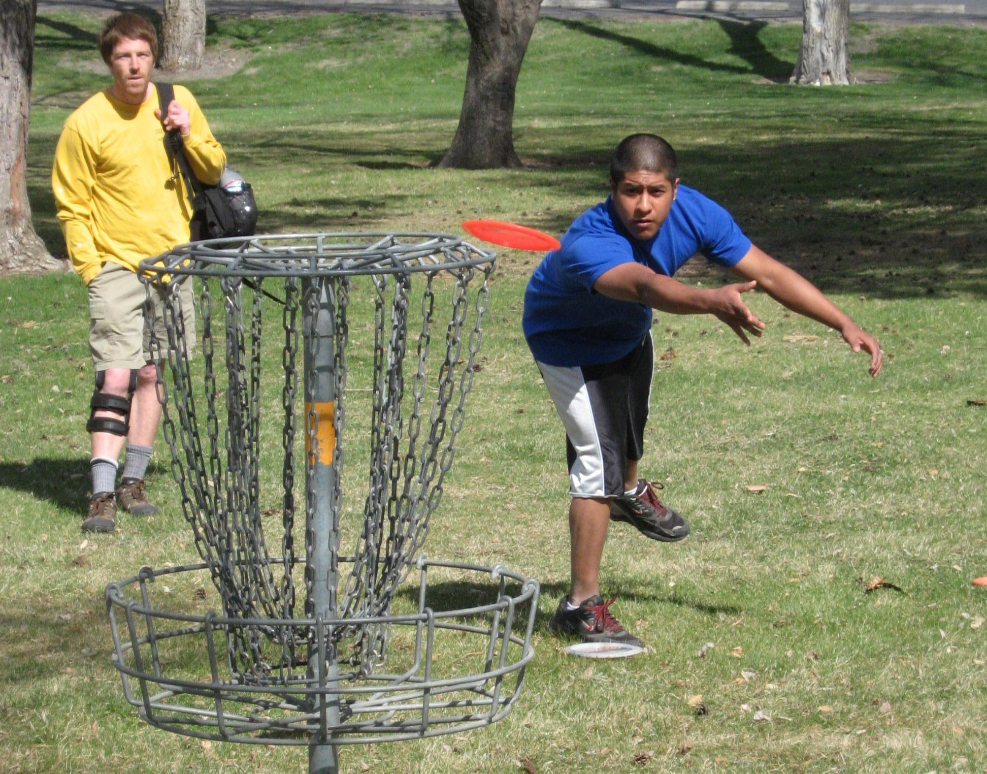 Disc golf goal and players