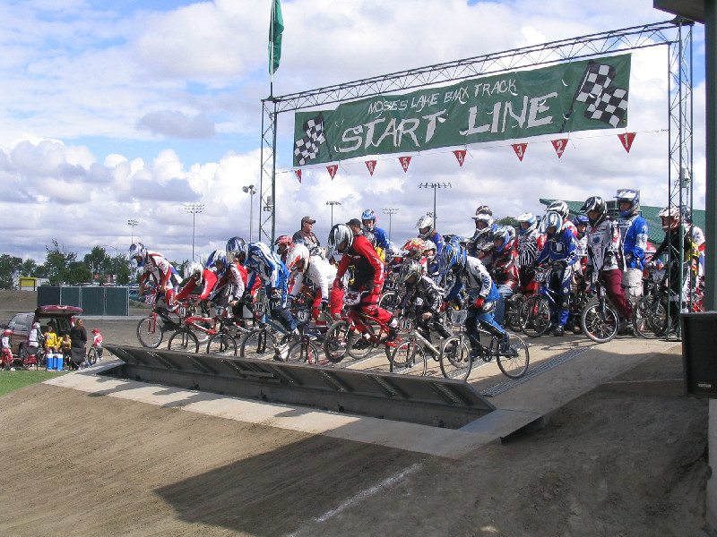 Many bikes starting BMX race