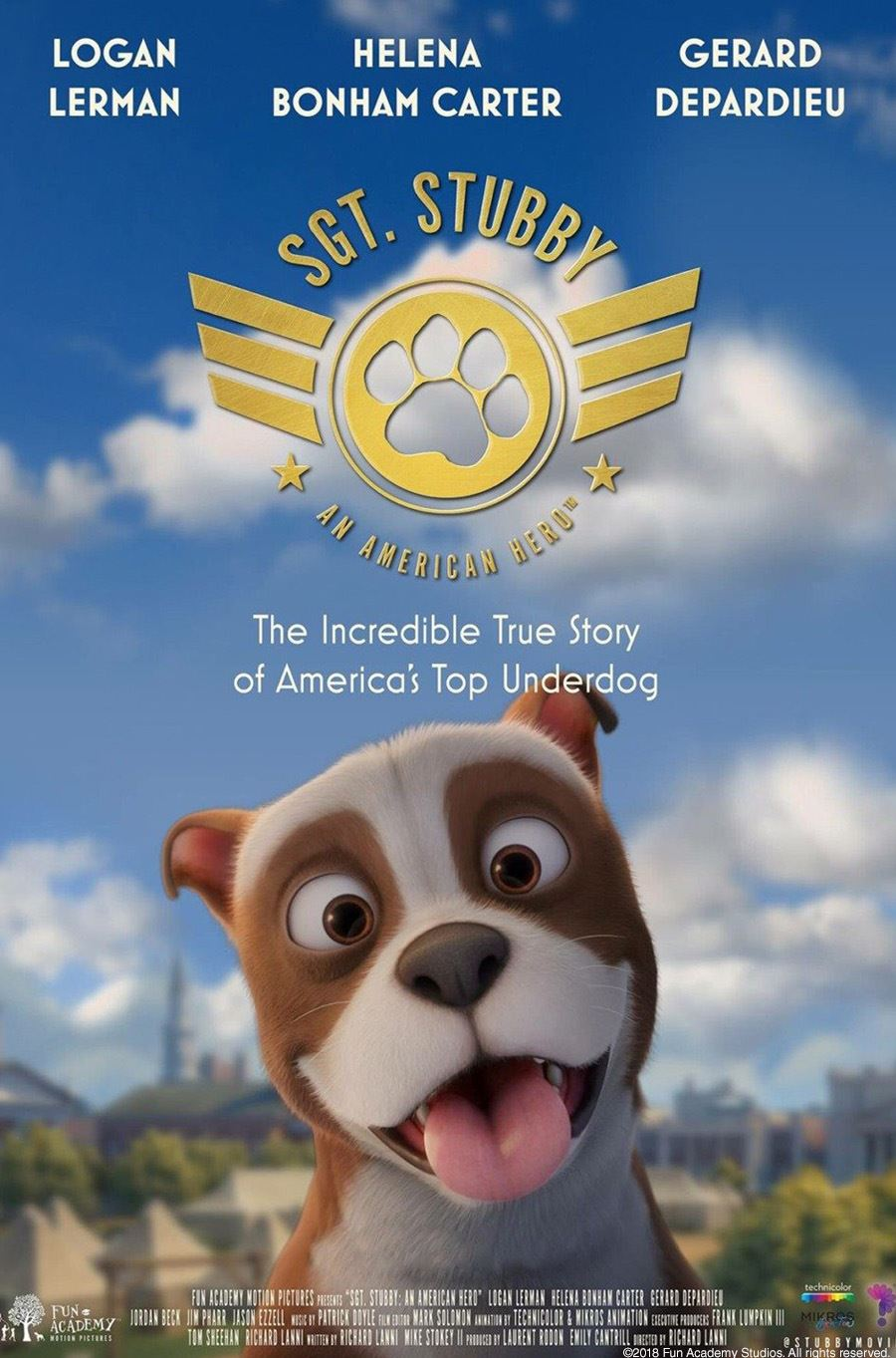 movie poster with bulldog puppy on front