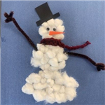 cotton ball snowman craft
