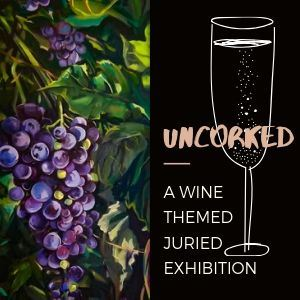 painting of grapes and champagne glass describing a wine themed art show