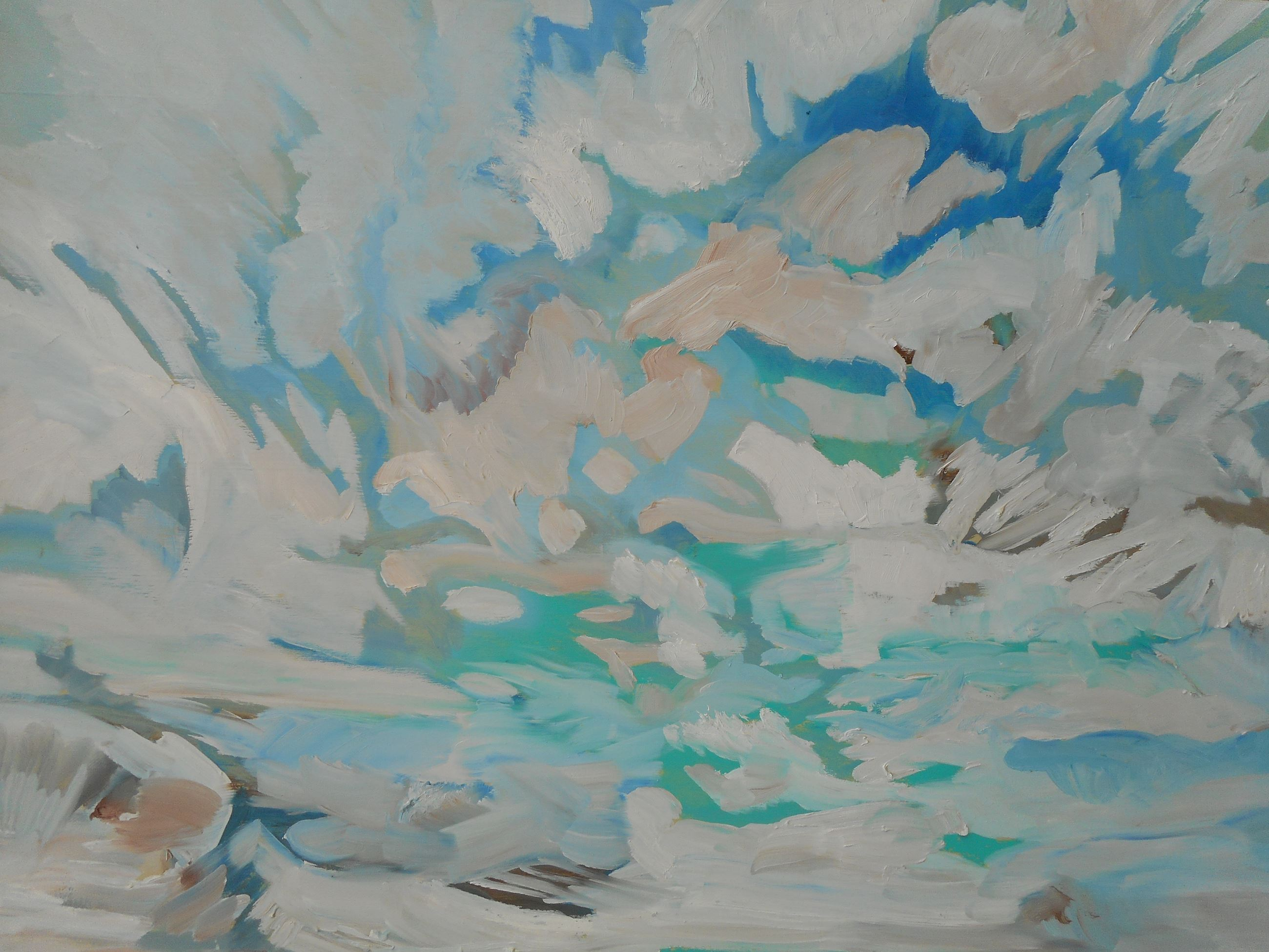Abstract Oil Painting of the Sky and Clouds