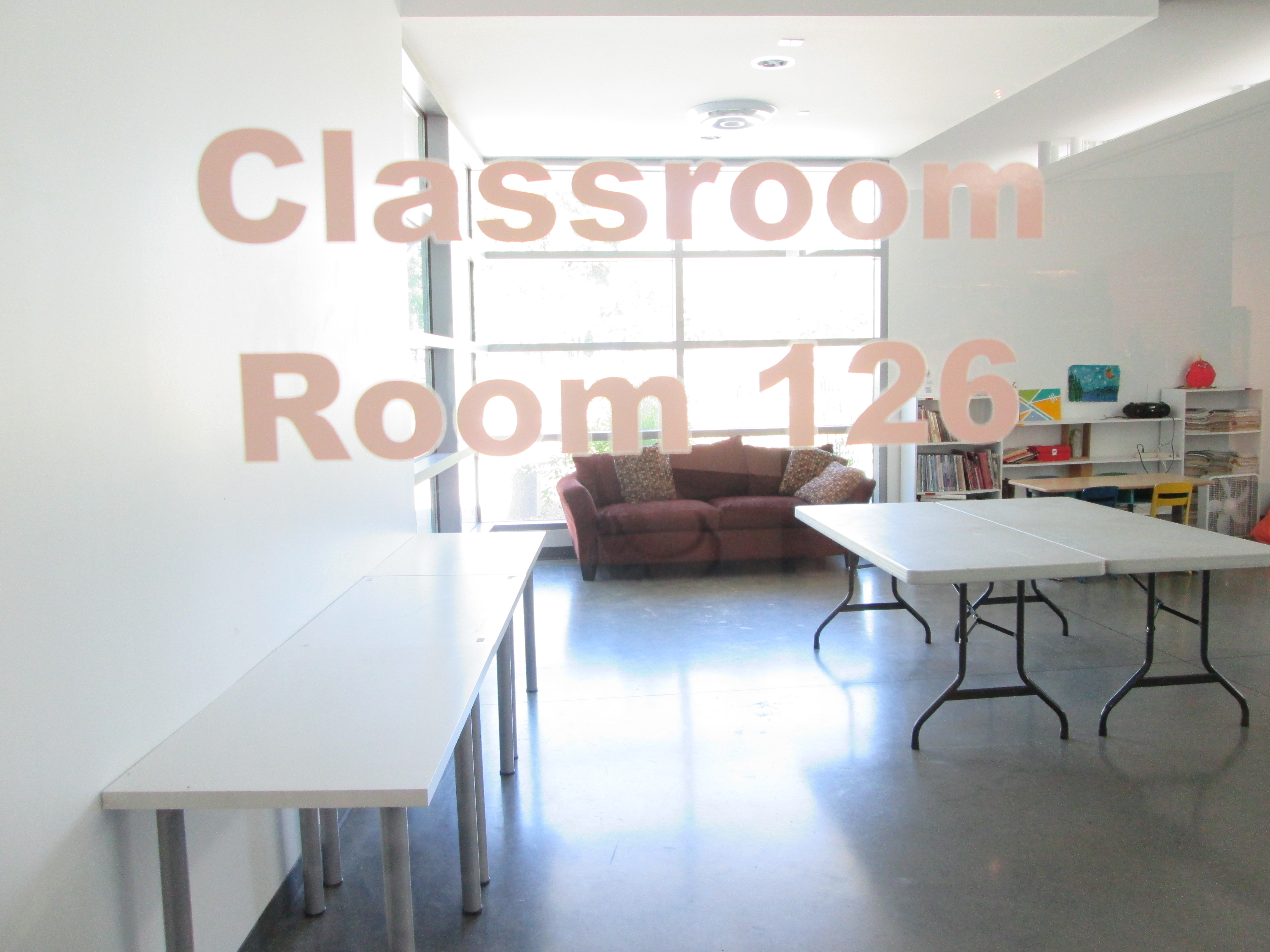 Museum classroom with tables & chairs
